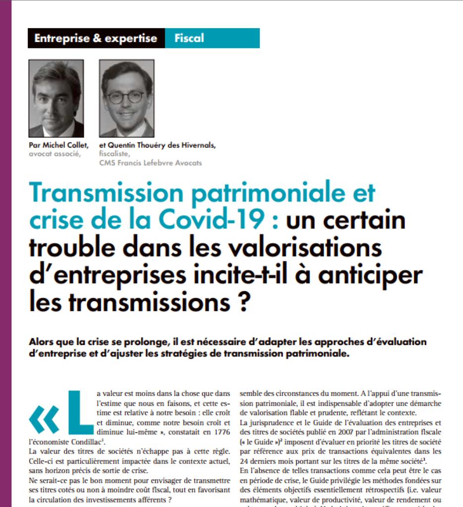transmission patrimoniale et crise Covid-19